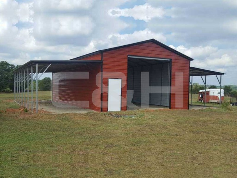 Texas A-Frame Barn with Vertical Roof 44Wx41Lx12H